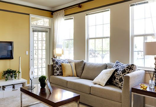 Stylish living room with sash windows
